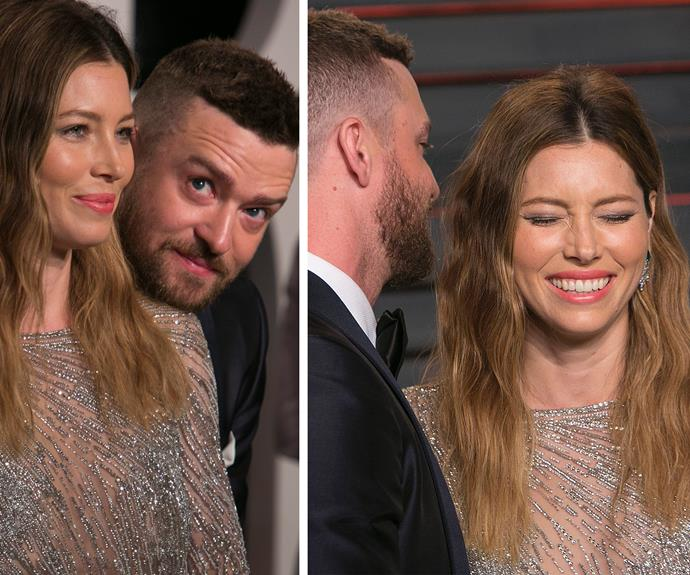 Love you like I do: Justin Timberlake and his wife Jessica are ridiculously adorable and may we say, totally N'Sync with each other.