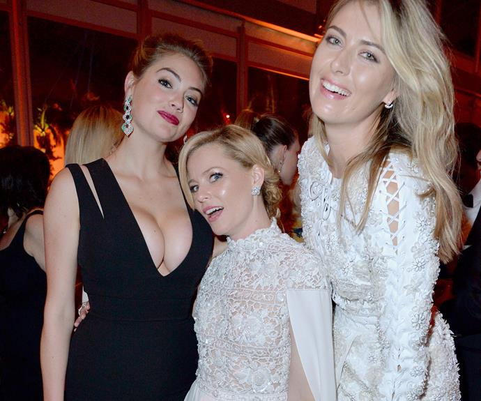 Blondes have more fun: Elizabeth Banks helps answer that age old question with the help of buxom model Kate Upton and tennis ace Maria Sharapova.