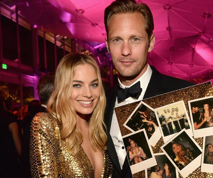 "Jane finds her Tarzan: Margot Robbie bumps into her Tarzan co-star, Alexander Skarsgard. The 25-year-old actress shared her ""fun"" night with a series of cute Polaroid snaps."