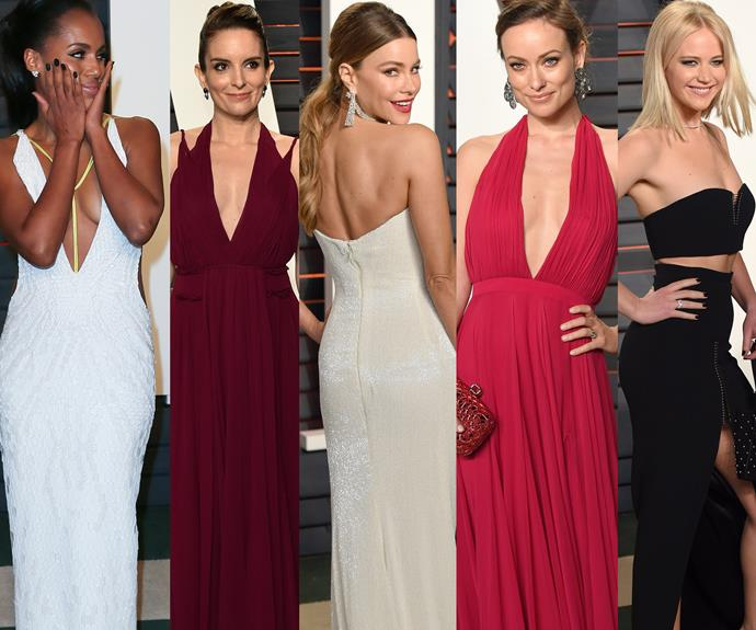 Following suit: Kerry Washington, Tina Fey, Sofia Vergara, Olivia Wilde and Jennifer Lawrence all slipped into their party dresses.