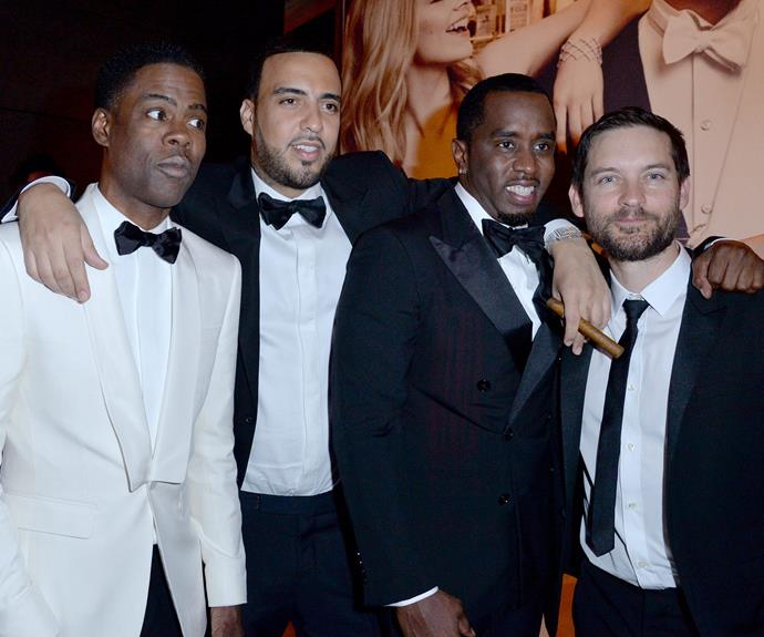 Is Tobey Maguire auditioning for the *Straight Outta Compton* sequel?  Leo's bestie rubs shoulders with Chris Rock, French Montana and Sean Combs.