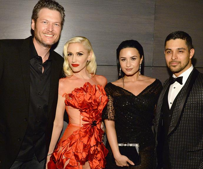 Achieving major couple goals... mingling with couple friends Demi Lovato and her main squeeze Wilmer Valderrama.