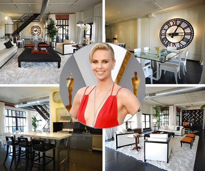 Charlize Theron has just sold her LA Loft for $1.75 million. While the stunning penthouse is smack bang in the heart of Hollywood, the pretty actress lost a cool million having purchased the place for $2.7 million in 2007. The lucky new owner certainly picked up a steal, with the two-level place boasting floor-to-ceiling windows, one bedroom, two bathrooms, a stainless steel kitchen, and interconnected living spaces with luxe ebony hardwoods and exposed duct work.