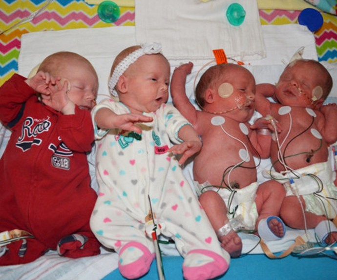 Seeing double! Kyler, Kenadee, Kash and Jace take their first breaths in the big world.