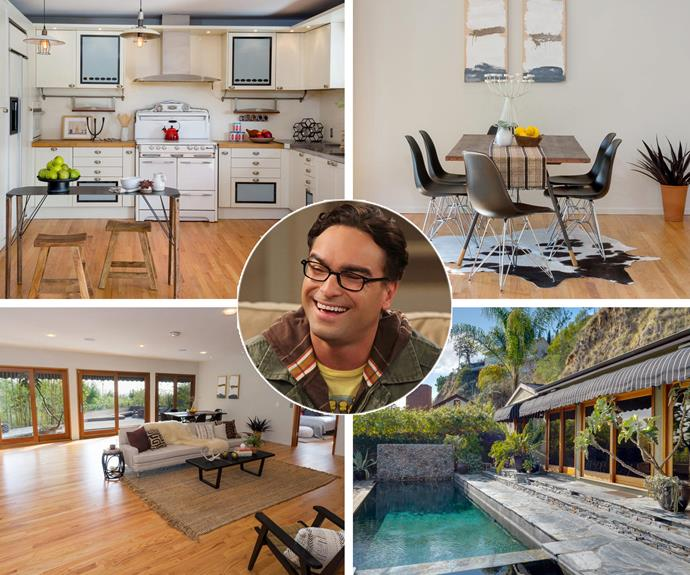 *Big Bang Theory* star Johnny Galecki is selling his stunning LA home for a incredible $1,995,000... And may we add that this home is out of this world! The stylishly renovated 1950s ranch-type bungalow has two bedrooms and two bathrooms a spacious combination living/dining room, a mantel-free white brick fireplace, and a trio of wood-framed glass sliders that open to the swimming pool.