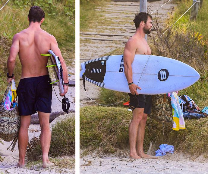 Meanwhile, Chris kept things simple in a pair of black boardies and let his famous muscles do all the talking.