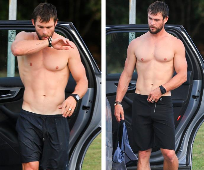 The father-of-three is in tip-top shape as he gears up to film *Thor: Ragnarok*.