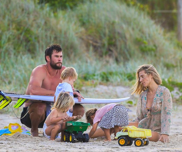 There's nothing more the A-lister loves than a low-key day at the beach with his family.