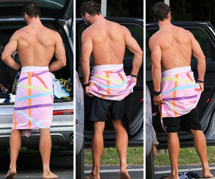 Proving he's still an Aussie at heart, the star did the sneaky towel trick to change into a fresh pair of boardies after his dip.