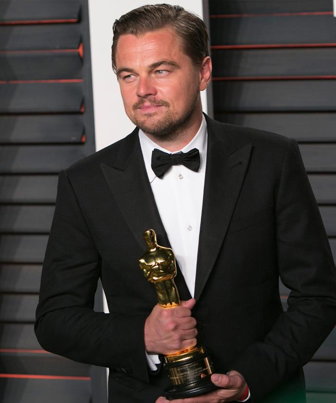 Best-actor winning Leo was the man of the moment.