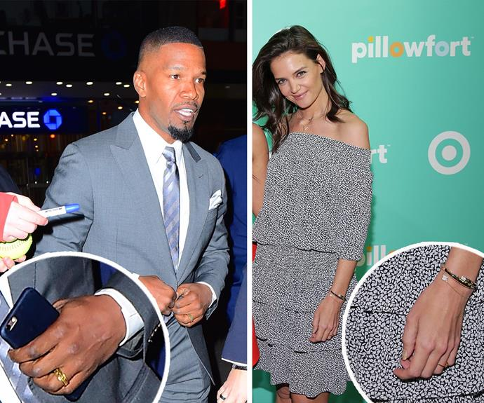 RING A DING DING! Both Katie and Jamie were spotted wearing gold rings on the same evening...