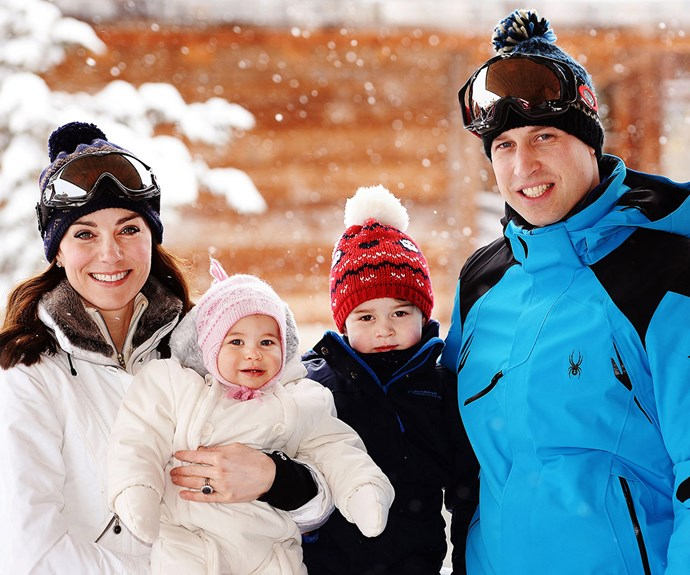 Look at those rosy cheeks! The royal tots pose with their proud parents for another photo.