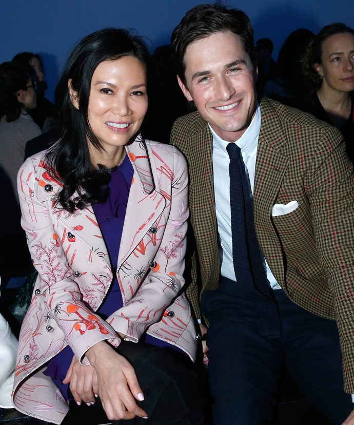 Wendi, 47, with Charlie, 30, looked cosy at the Giambattista Valli show in Paris.