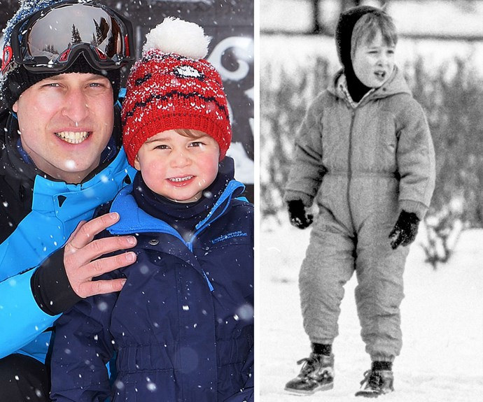 Prince George, already two, is growing up so fast and turning into his father's mini-me. In 1986, Wills was all about staying warm in a cosy onesie (R).