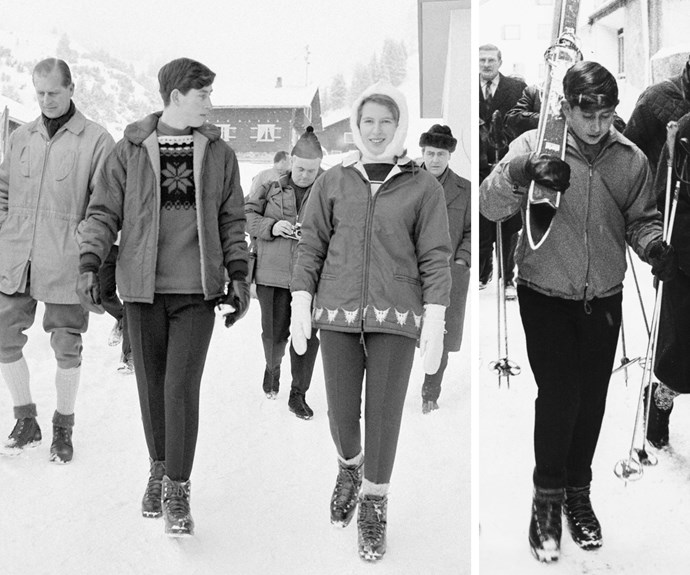 Skiing in the Alps is a tradition that goes back to when Prince Charles was a young lad. (L) In 1963 a rosy-cheeked Charles checks out the conditions. (R) Two years later, he's just as keen to make the most of it!