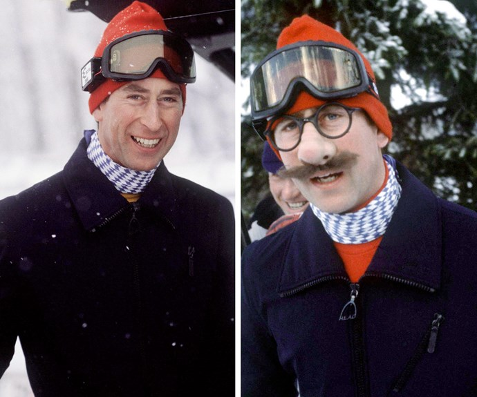 Prince Charles, 31, makes fun of the press during his annual trip to the fields in 1980.