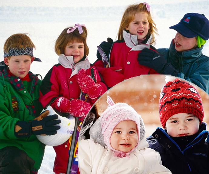 A new family tradition: Just like Prince Harry and Prince William looked forward to spending vacations away with their cousins, Eugenie and Beatrice (pictured here during their Switzerland ski holiday in 1995), little Charlotte and George can expect many escapes to the snow with loved ones.