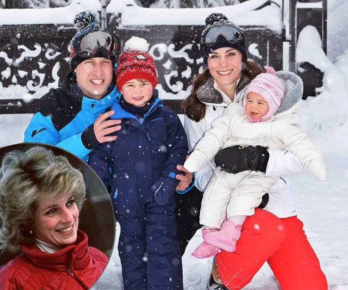 Proudly watching on: It has been 25 years since William went on his first ski trip with his mother. Now the Prince is reviving the tradition with his children.