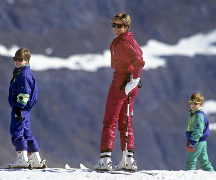 They got it from their mama! Di teaches the boys how navigate the terrain during a trip to the Swiss Apls in 1991.