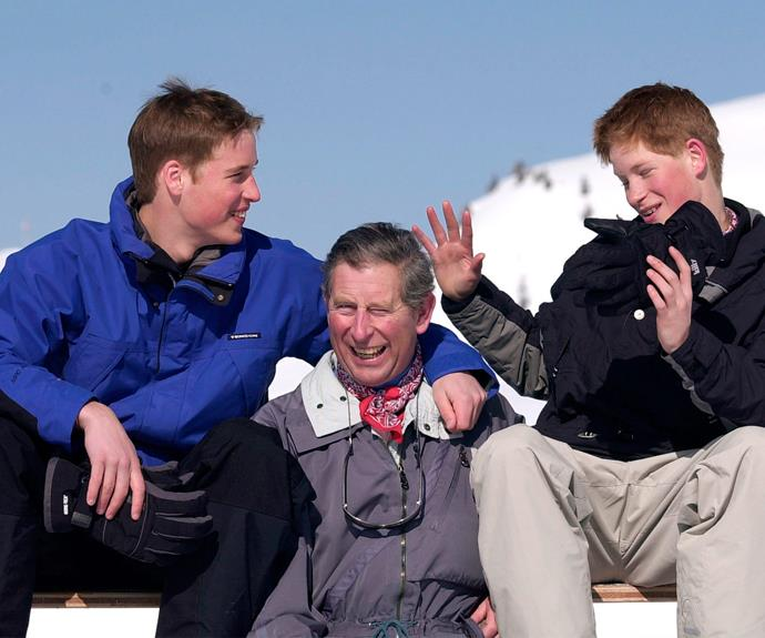 Laughs with dad: Prince Charles is also very fond of the snow. Here, he shares a chuckle with his teenage sons back in 2000.
