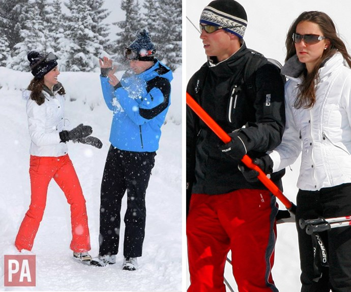 Almost five years on from their spectacular wedding, William and Catherine look just as in love as ever. Back in their early days as a couple (R) they often enjoyed trips away to the snow.