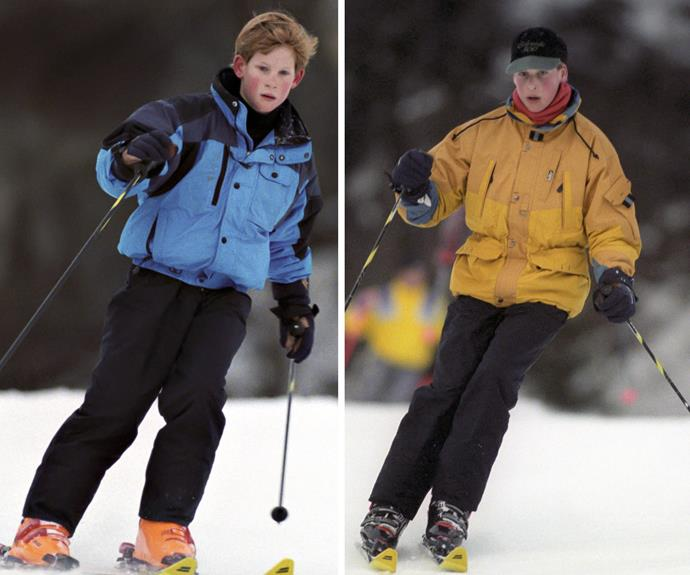 Slope it to me: In 1995 a 10-year-old Harry and 12-year-old William took their skiing very seriously!
