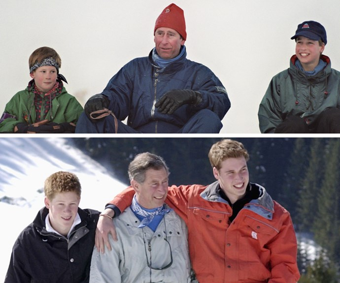 Hanging with dad. Over the years, Prince Charles held many photocalls with his sons during their vacations.