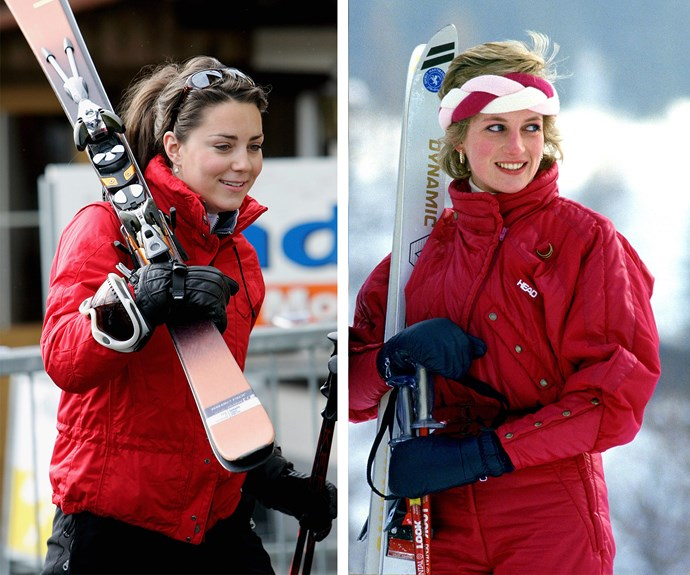 Slope style: Catherine and Diana both work snug red parkas for the chilly climes.