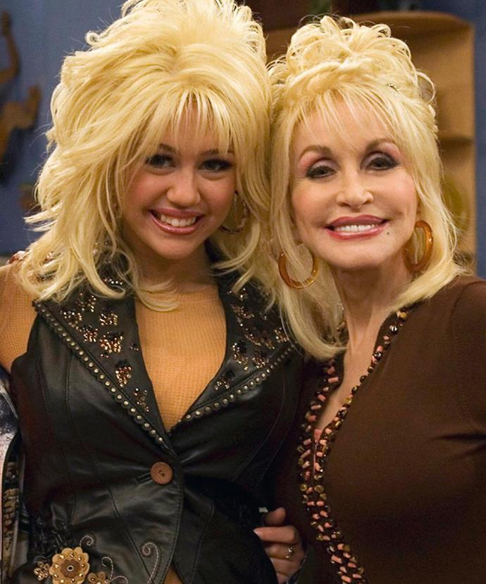 Dolly with her goddaughter, Miley on her Disney show, *Hannah Montana*.