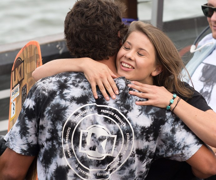 Clearly very pleased to see her main man, Bindi was very excited to unveil what she had planned for the professional wakeboarder...