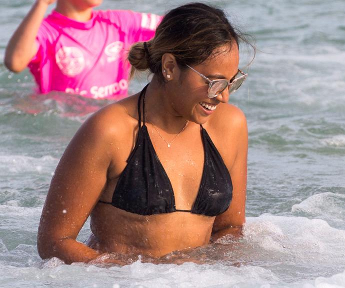 Looking good Miss Mauboy! The girls traded their sequins for bikinis to frolic in the surf.