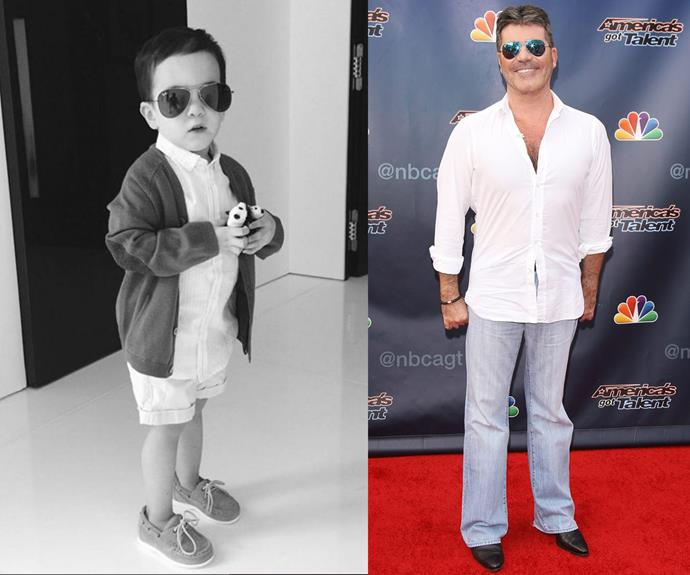 "Wow! Simon Cowell's son Eric is a chip off the old block. The music mogul's good pal Cheryl Fernandez-Versini shared this adorable black-and-white snap of the toddler and penned, ""Look at Eric Mini @SIMONCOWELL but cute!!"""