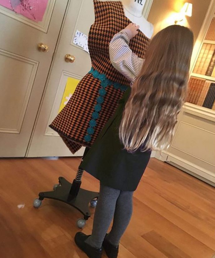 """""""Draping like mummy!"""" Is Harper going to be a future designer?"""