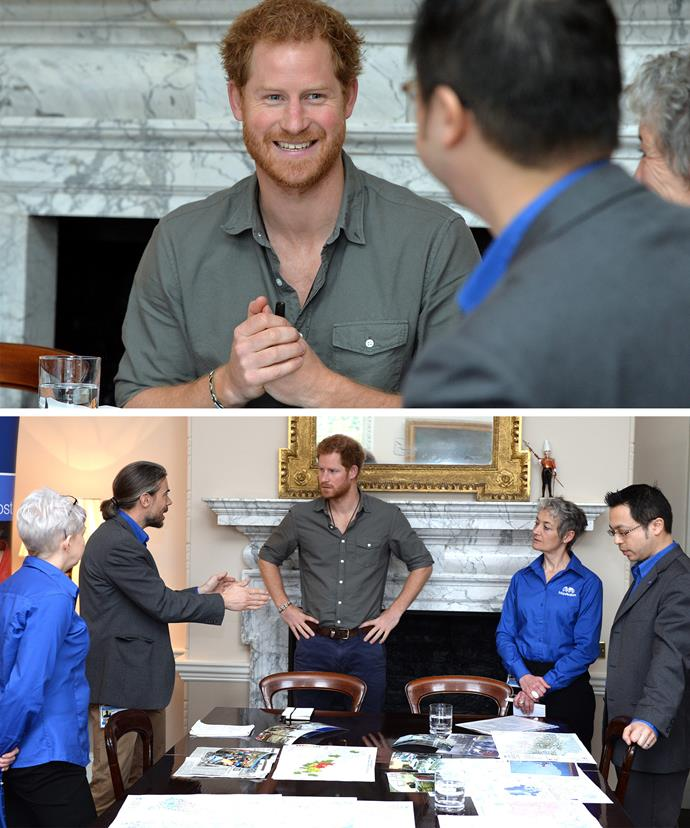 Harry, pictured at a London briefing for his upcoming trip, will visit Nepal for the first time on behalf of the British Government from the March 19-23.