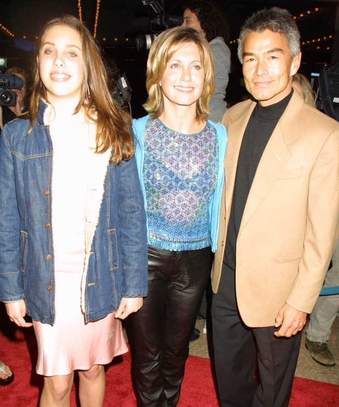 Olivia Newton John with daughter Chloe and Patrick McDermott at the *Mamma Mia!* musical New York opening night in 2001.