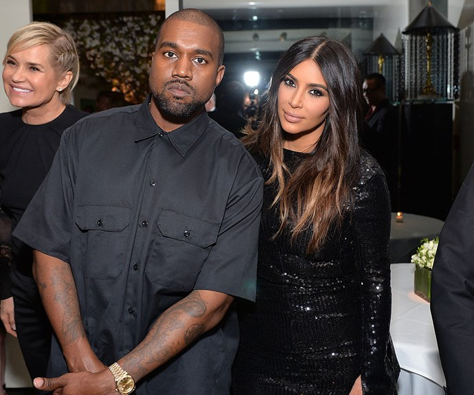 Rapper Kanye was on his best behaviour for the exclusive event in Los Angeles.