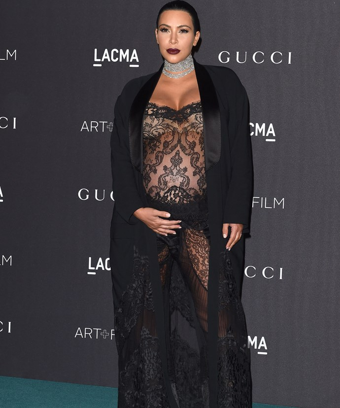 Kim pictured eight months into her second pregnancy.