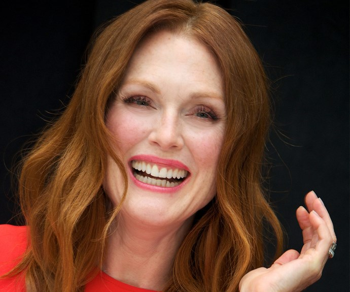 """Julianne Moore, 55, is all about facial oils. """"I love them and I switch around what I use, L'Oréal Paris Age Perfect Glow Renewal Facial Oil, L'Oréal Paris Age Perfect Cell Renewal Golden Serum, Sunday Riley face oil and Rodin face oil."""""""