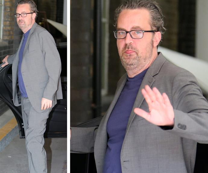 Matthew, pictured leaving the *This Morning* TV studio in London on Tuesday, raised concern thanks to his disheveled appearance.