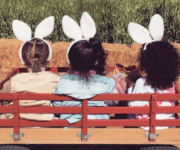 The three musket-EARS! Yesterday, reality star Kim Kardashian ventured out with her darling daughter North, and two of her friends for a fun-filled day in the Easter sun.