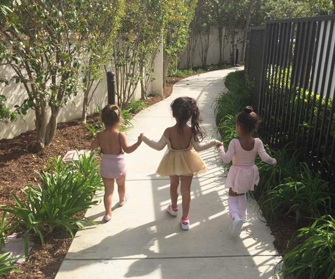 North West, her cousin Penelope and PR extraordinaire, Tracy Nguyen's daughter Ryan were the picture of cuteness as they walked around, hand-in-hand looking for hidden eggs in the garden.
