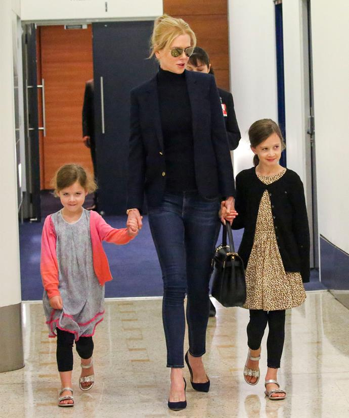 Looking very smart: Nicole rocked a pair of skinny jeans teamed with a blazer and turtle neck.