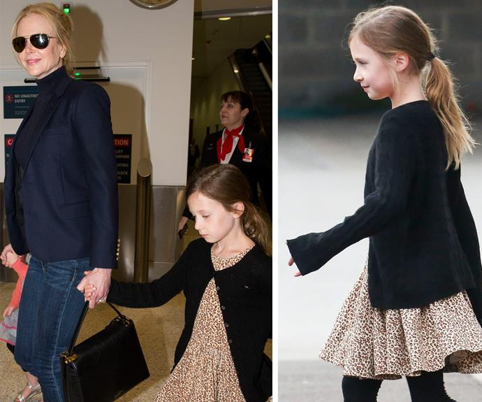 Sunday looked every bit like her dad, dressed in a sweet leopard spotted dress.
