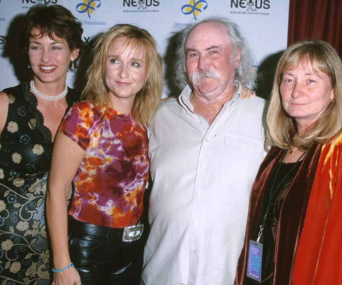 Melissa Etheridge (second from left) with her now-ex, Julie Cypher (far left) joined by David and his wife Jan Crosby.