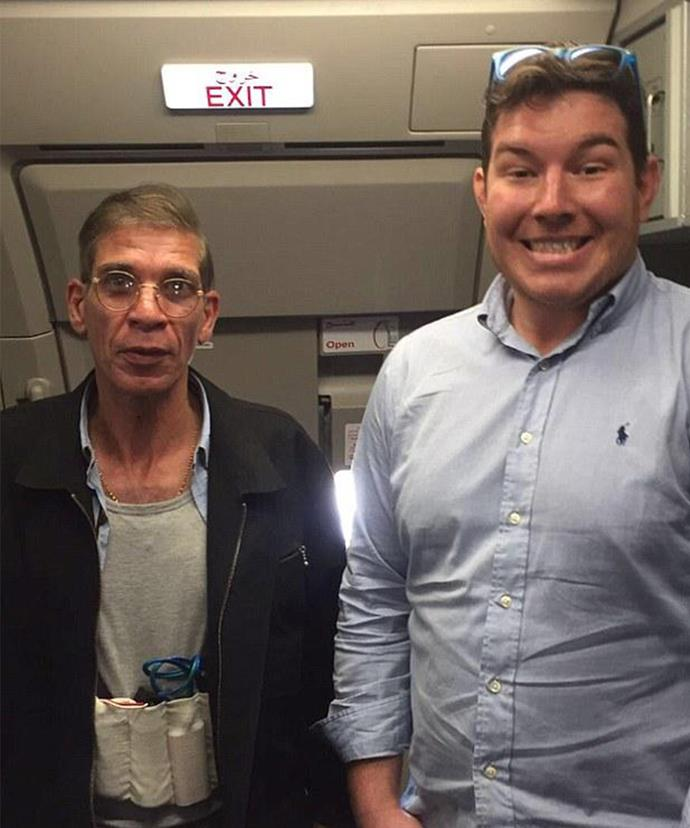 Ben couldn't wipe the grin off his face as he posed up to the hijacker.