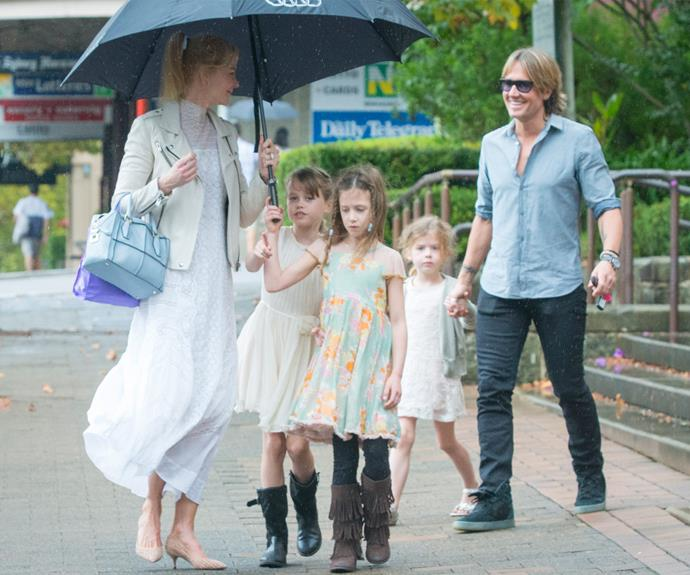 The loved-up couple jetted in from Nashville to visit Nicole's mum Janelle and the actress' extended family.