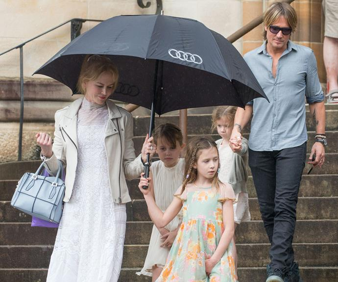 Joined by their daughters Sunday, seven, and Faith, five, they headed to Sunday mass.