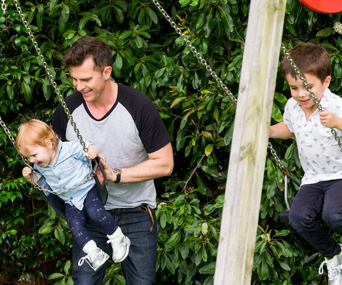 David and kids have a swinging good time.