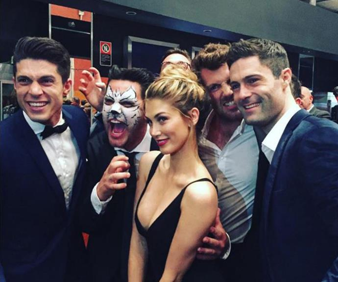 Josh (far left) and Delta at the opening nights of *Cats*.