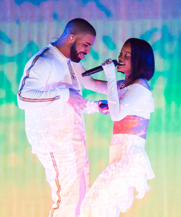 "Rihanna, 28, and Drake, 29, have been linked romantically many times throughout their careers, with both stars admitting that timing prevented them from becoming an item. ""It was at a really fragile time in my life, so I just didn't want to get too serious with anything or anyone at that time,"" said the *Diamonds* singer in 2010."